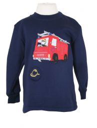 Fire Engine Embroidered Sweatshirt with Sound Effect