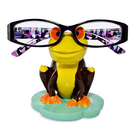 Yellow and Brown Frog Eye Glass Holder