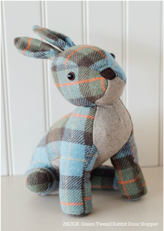 Green Tweed Rabbit Door Stopper