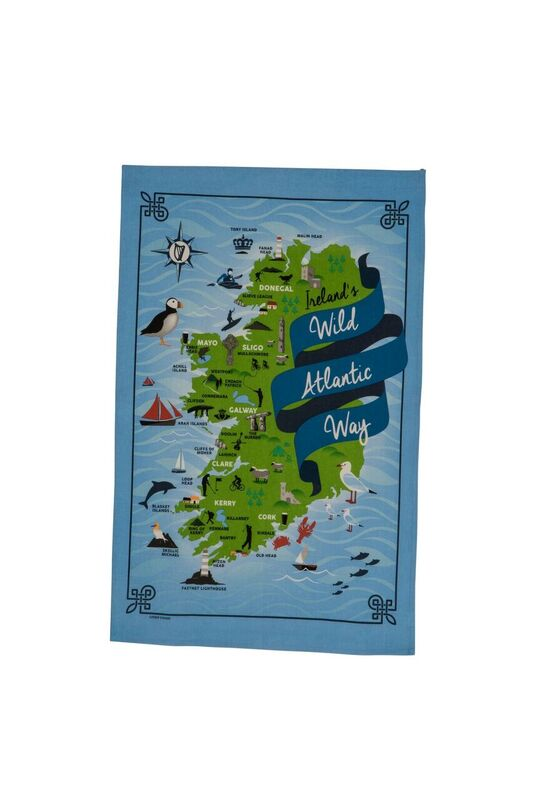 Ireland's Wild Atlantic Way Linen Union Tea Towel