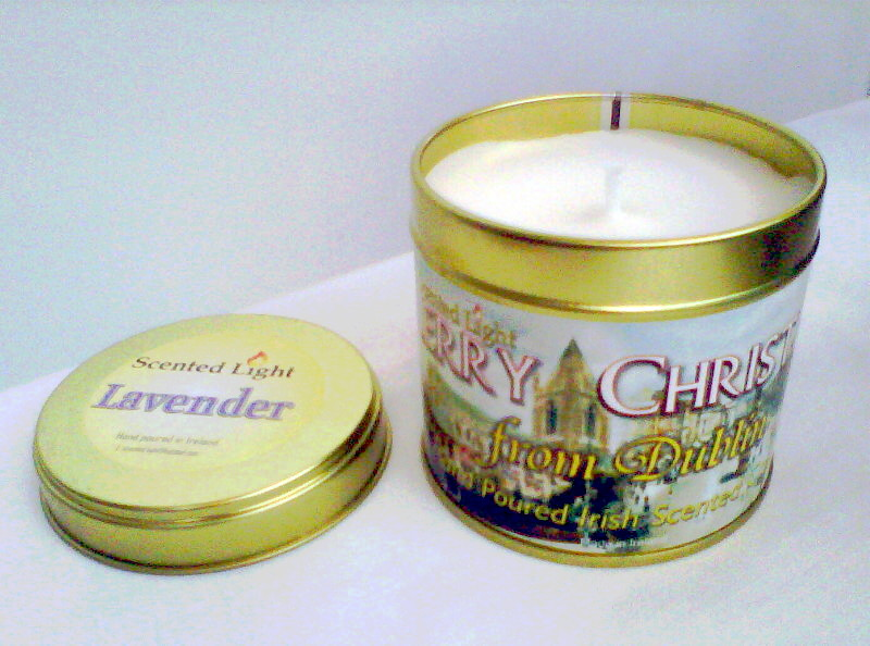 Merry Christmas From Dublin Hand Poured Lavender Candle In A Tin