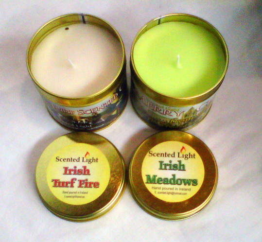 Irish Turf Fire and Irish Meadows Hand Poured Candle Tins