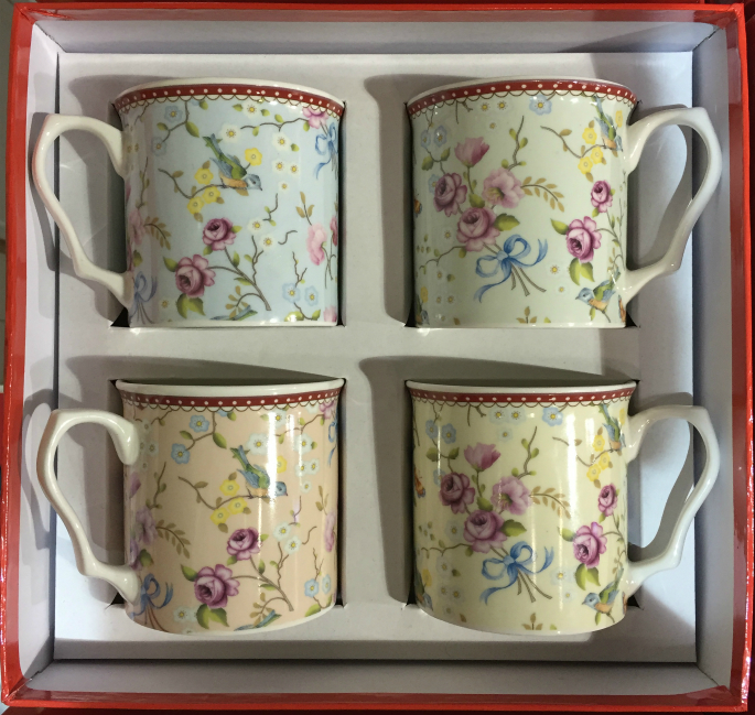 The Birds and Blossom Range 4 Piece China Mug Gift Set