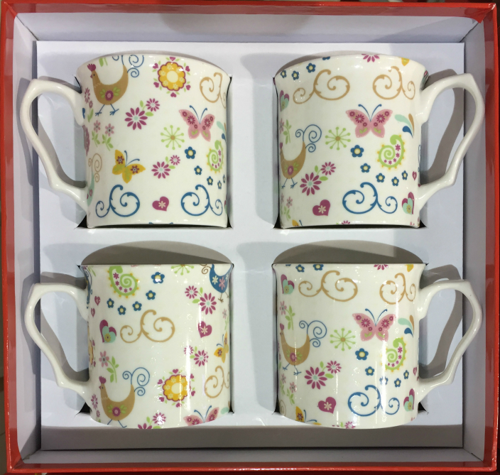 The Funky Hen Range 4 Piece China Mug Gift Set