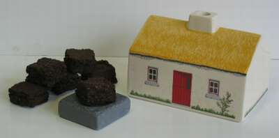 Irish Turf Peat Ceramic Cottage