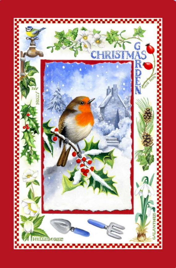 Christmas Garden Cotton Tea Towel